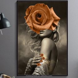 Nordic Simple Modern Creative 3D Girls Sexy Photo HD Golden Flower Art Work Canvas Painting For Living Room/Bar