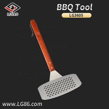 Dishwasher safe  stainless steel grill spatula with solid wood handle