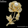 75mm Vintage Style Silver/Gold Clear Rhinestone Rose Flower Brooch, big pearl rose brooch