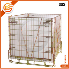 Rolling collapsible metal welded wire mesh container cage/stackable metal basket