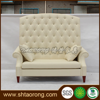 ODM welcomed hotel high back PU leather white chesterfield sofa