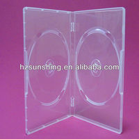 14mm transparent double dvd case/dvd box/dvd cover