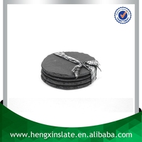 Chinese Factory Direct Sales Wholesale Natural Edge Dia10*0.5cm Round Black Slate Coaster Stone Coaster