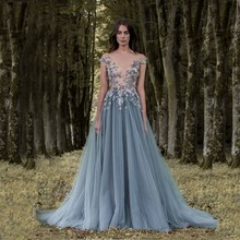 Flower Grey Blue Evening Dresses Latex Lao Lily Wedding Dress