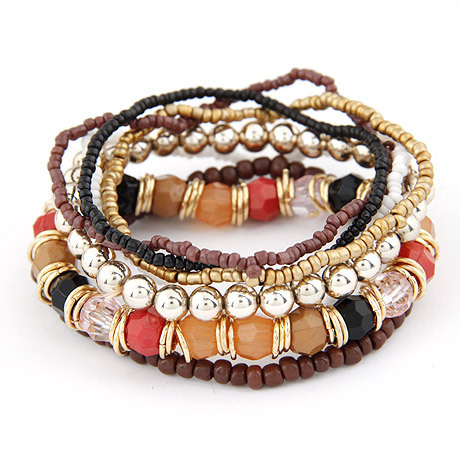 2015 Spring Korean Designer Fashion Bohemia Beads Bracelet Beaded Multilayer Strand Stretch Bracelets Bangles For women Girl