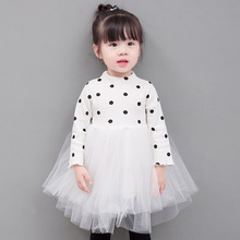 0-4 years 2017 Summer New Wholesale <strong>Girl's</strong> dot long sleeve gauze skirt Baby cotton knit princess <strong>dress</strong> <strong>girl's</strong> pengpeng <strong>dress</strong>