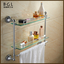 11102 bathroom accessories set zinc alloy chrome finish dual tier bathroom glass corner shelf