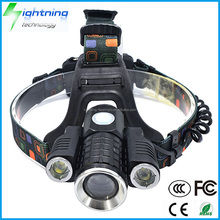 Factory Wholesale High Quality Rechargeable High Power Super Bright T6+XPE 3 CREE LED Headlamp LED for Camping Flashlight Torch