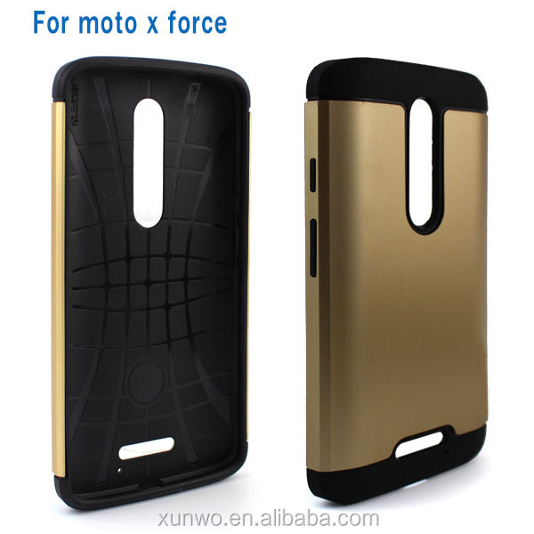 Factory direct sale fashion slim armor case for moto x force shockproof combo cover