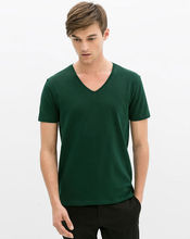 Wholesale blank T shirts, fashion high quality v-neck plain t shirts