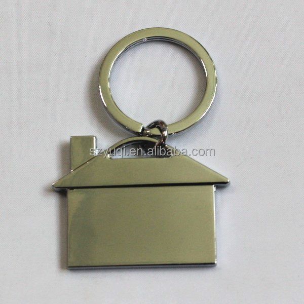 Promotion Gifts Custom Made House Shaped Blank Metal Keychain