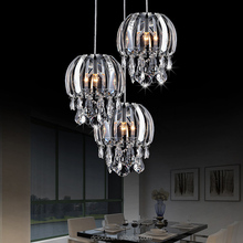 Modern kitchen chandelier crystals glass pendant light with LED for restaurant