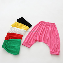 Summer high quality cotton pure color girls children harem pants