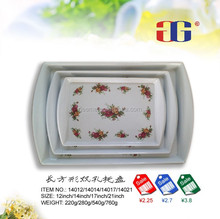 Melamine Rectangle Serving Tray with flower decal design