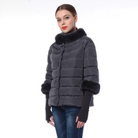 Knit Sleeves Ladies Rabbit Leather Button Down Jacket