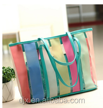 New Korean Style Transparent Candy-Colored Beach Bags Jelly crystal tote bag