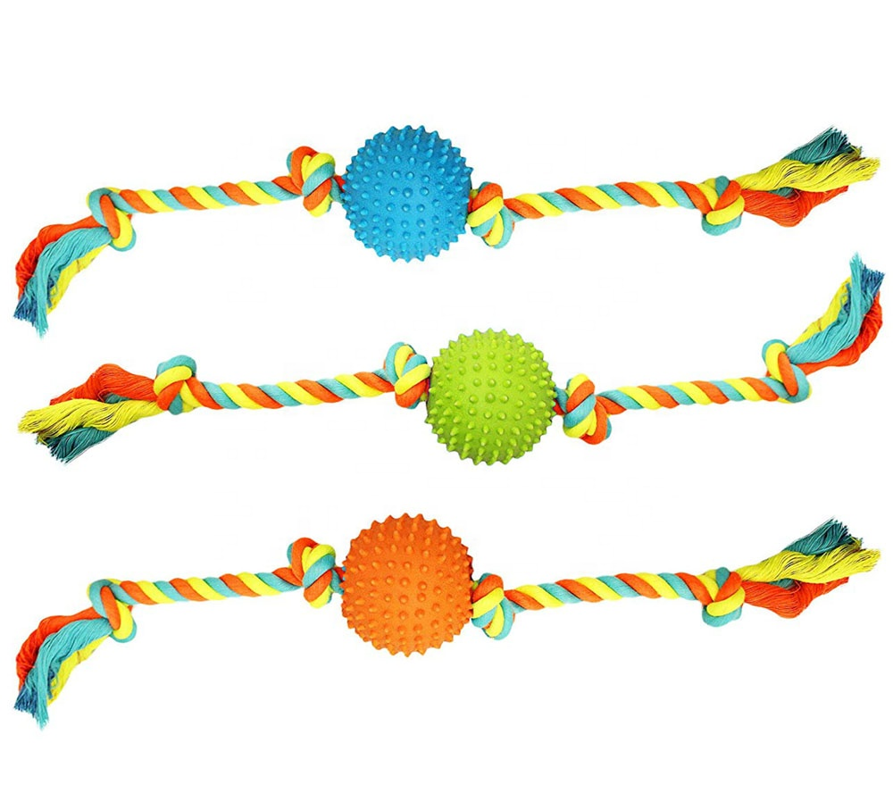 Pet Extra Tough Colorful Rope with TPR Spike Ball Dog Toy Medium Size Dog Toy