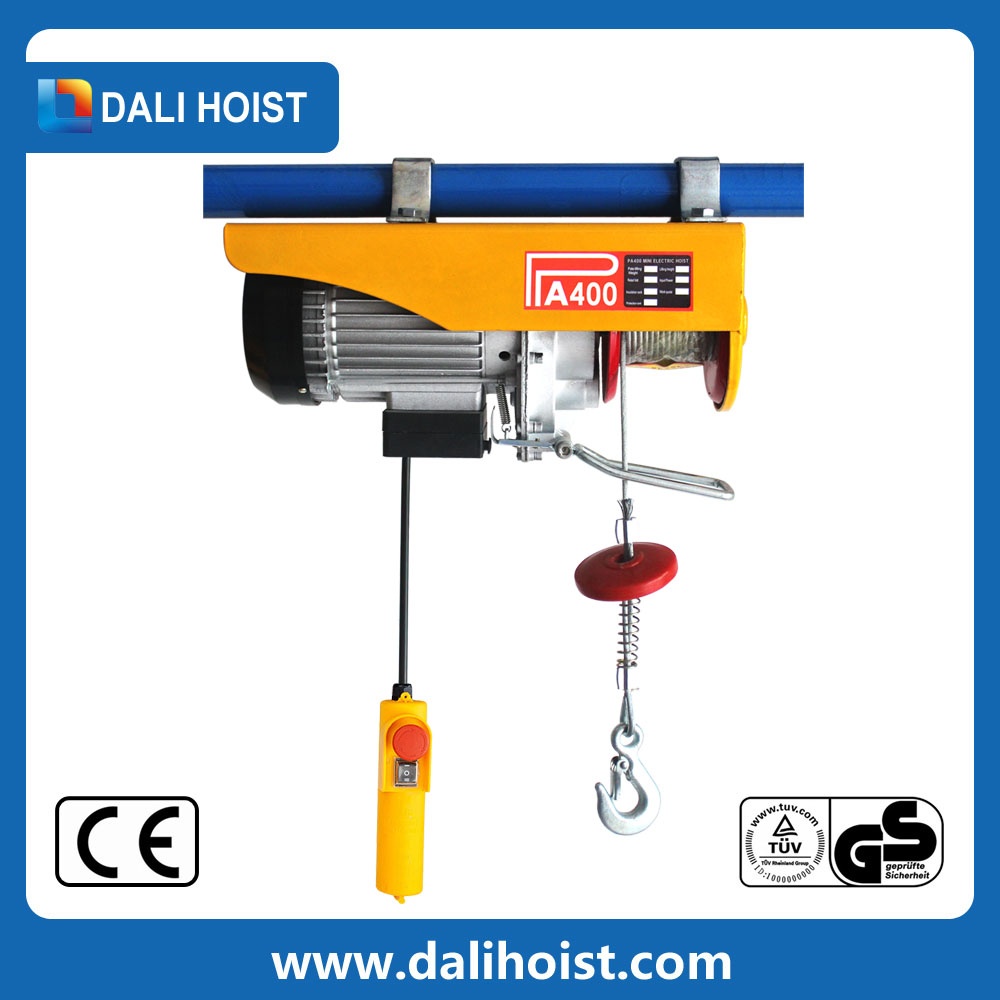 250Kg Mini Electric Wire Rope Hoists 0.2 Ton Single Girder Overhead Traveling Electric Wire Rope Hoist Trolleys