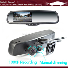 car dvr rearview mirror with Anti-Glaring Glasses and car parking camera