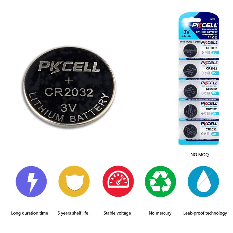 PKCELL High Capacity 210mah 3v Lithium Coin Battery CR2032 Lithium Button Cell Battery With Solder Tabs