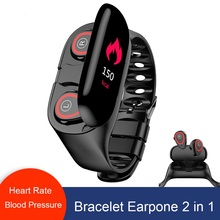 M1 <strong>Smart</strong> Bracelet Dual Bluetooth 5.0 Wireless Earphone Heart Rate Blood Pressure Tracker <strong>Smart</strong> <strong>Watch</strong> Men For IOS Android Phone