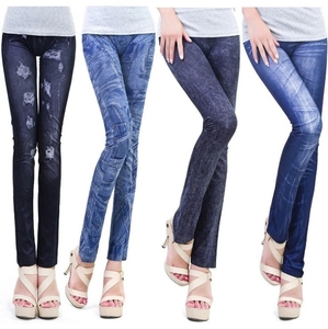 New style spandex wholesale cheap fake jeans leggings