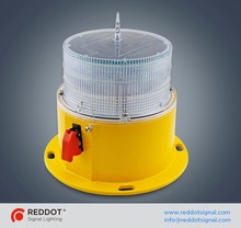 Solar powered LED low intensity aviation obstruction warning light for cellular towers