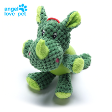Small Corduroy Pet Plush Toy Green Dinosaur Teeth Clean Stuffed Interactive Toy for Small Medium Dog