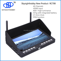 "5.8ghz 600cd/m2 high brightness build-in battery 7"" hdmi fpv monitor RC708"