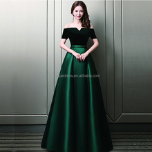 Evening dress skirt one shoulder satin dark green banquet dinner dresses evening gown dress
