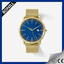 2016 Fashion stainless steel band high quality men gold watches