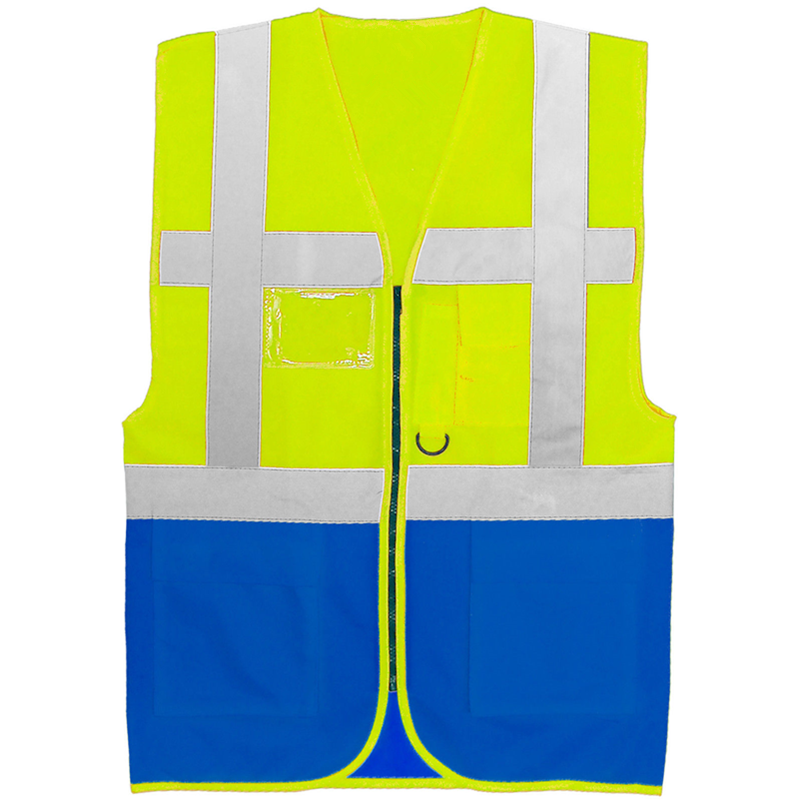 Wholesale cheap summer hi vis blue reflective vest with pockets