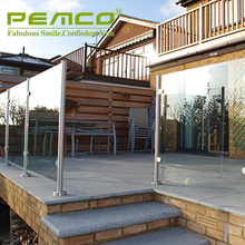 2018 Pemco factory price polished finished 304/316 glass balcony outdoor metal stair railing