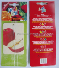 fruit scented rectangular shape hanging car air freshener made of cotton paper