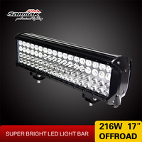 Top quality 17 inch four rows led lgiht bar 216W motorcycle trailer led lamps spot flood light bar