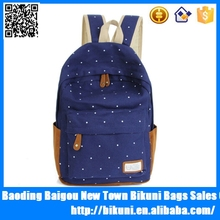 New 2015 Casual Canvas School Bags Girls Dot Printing Backpack Schoolbags Backpacks For Teenagers