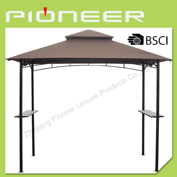 double toit barbecue en fer forg gazebo avec table de bar abri soleil et cl ture pour grill et. Black Bedroom Furniture Sets. Home Design Ideas