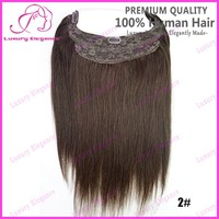 100 grams Dark Brown Straight hair flip style With Clips Hair Pieces Wholesale human hair cheap halo hair extensions