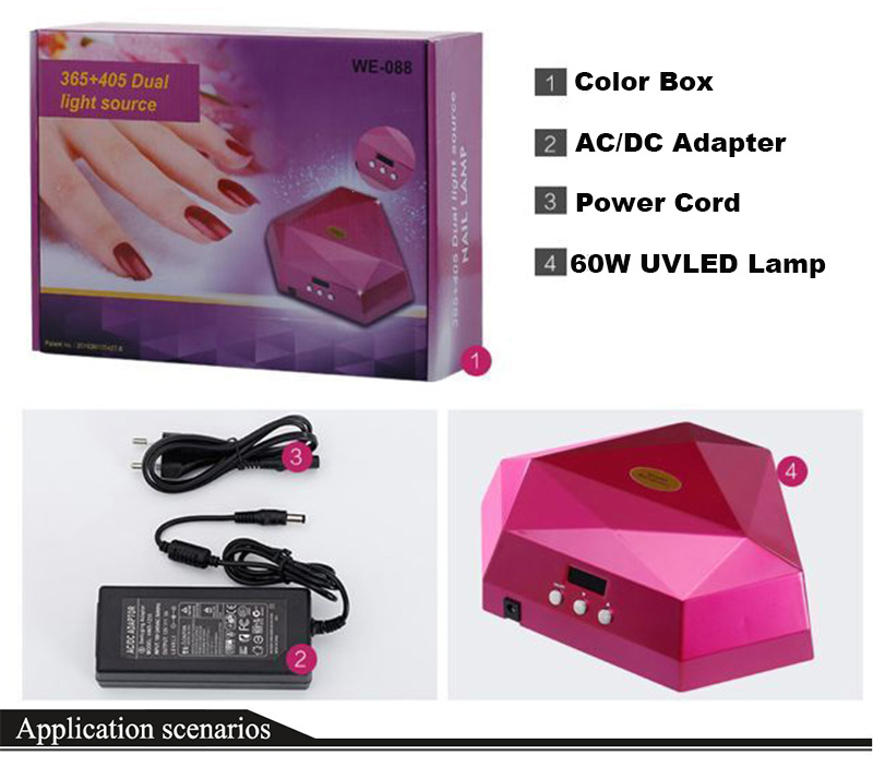 SUN10 60W LED Screen Dual Nail Dryer Gel Polish Fast Curing Light UV LED Nail Lamp