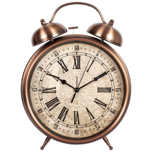 Metal real desk two bell ring alarm clock/Classical metal twin bell retro flip down clock