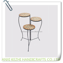 wrought iron folding plant stand with mosaic top