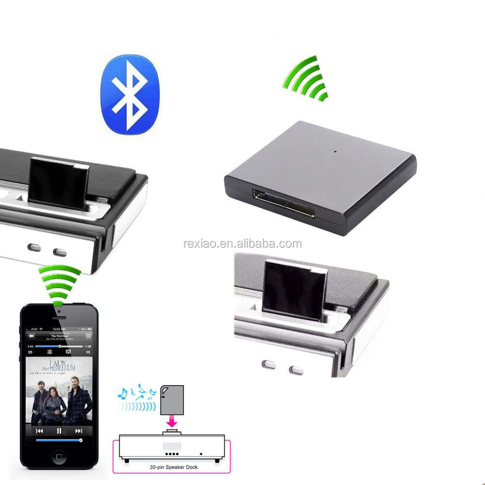 Wireless 30 Pin A2DP Bluetooth Music Audio Receiver Adapter