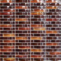 Coffee color crystal mosaic, arch glass mosaic tile for interior decoration (PMGIL058)