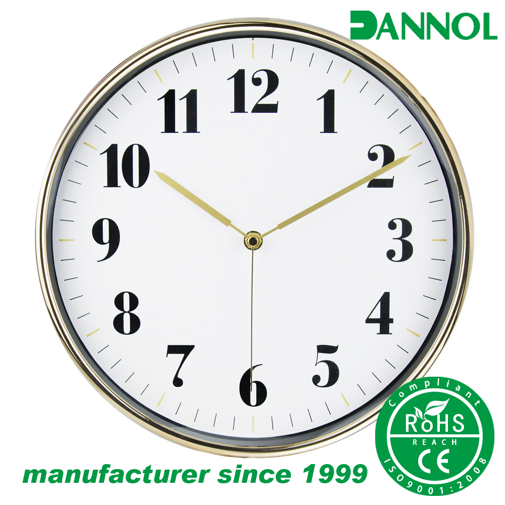 Luxury golden plating factory direct supplying home deco ABS plastic wall clock YIWU price
