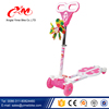 Plug in T bar children frog kick scooter / cheap four wheels kick scooter with basket / girls and boys kids plastic scooter