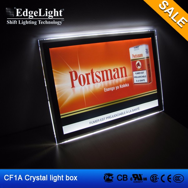 2016 hot sale clear PMMA acrylic led light box <strong>frame</strong> for advertising <strong>poster</strong> display