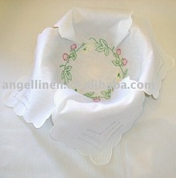 100% pure white linen bread basket with embroidery