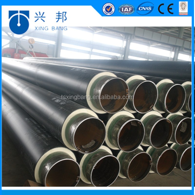 API5L 16inch carbon steel insulated tube with polyurethane foam filled and outer iron sleeve for power plant waste heat supp