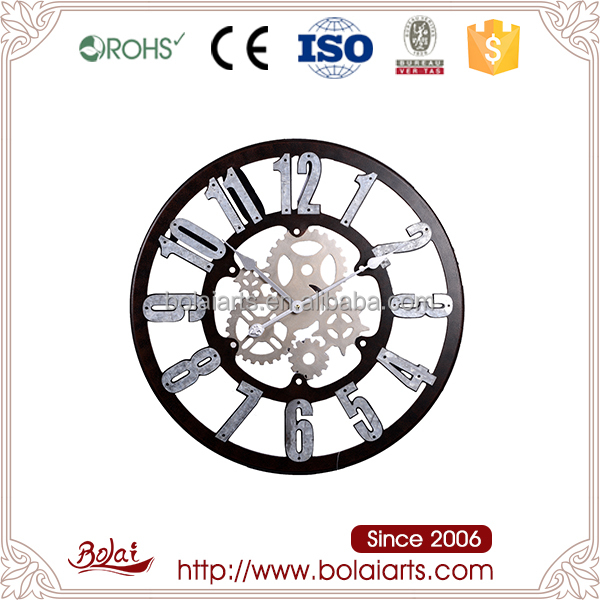 Various colors silver color Arabic numbers hollow mini gears mdf cool wall clock