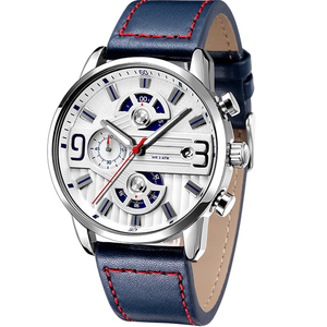 Custom High Quality Luxury Brand Japan Movement Genuine Leather Watch Chronograph Steel mens watch